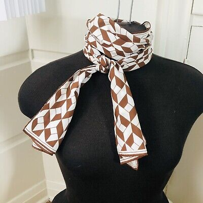 Vintage Scarf Styles -1920s to 1960s Vintage Early 70s Vera Chevron Print Silk Blend Rectangular Scarf with stutter $9.99 AT vintagedancer.com