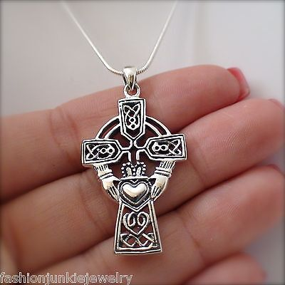 Large Celtic Claddagh Cross Necklace   925 Sterling Silver  Claddagh Pendant Sn
