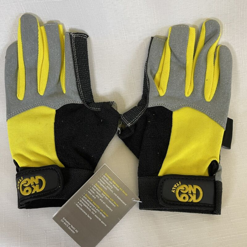 KONG Alex Palm Gloves Yellow Sz 9 M made with Kevlar Gray Black Outdoor New