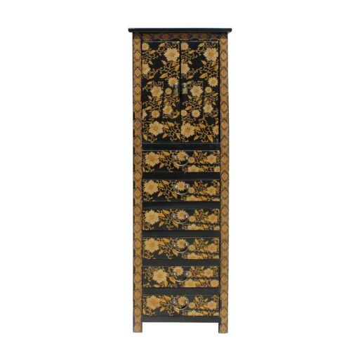 Chinese Black Golden Flower Graphic Tall Slim Multi Drawers Cabinet Cs5791