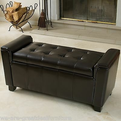 Elegant Espresso Leather Armed Storage Ottoman Bench with Tufted Seat Top