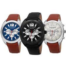 Men's Akribos XXIV AK777 Multifunction Day Date Subdial Leather Strap Watch