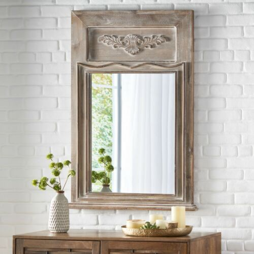 Ivey Cosby Traditional Acacia Wood Wall Mirror, White Washed Gray Home & Garden