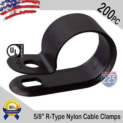200 Pcs Pack 58 Inch R-type Cable Clamps Nylon Black Hose Wire Electrical Uv