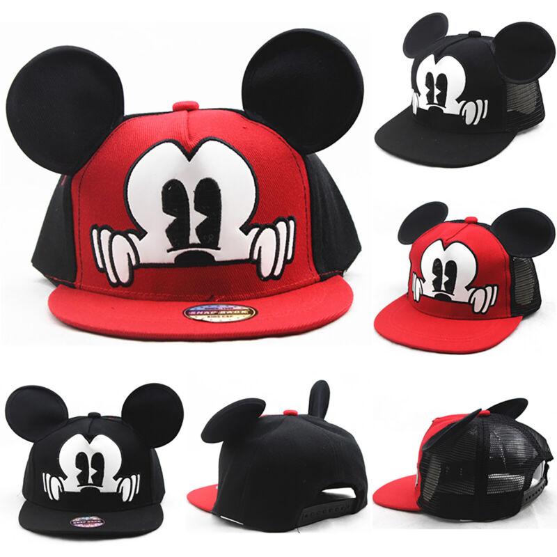 Boys Girls Kids Mickey Baseball Caps Hip Hop Cut Snapback Be