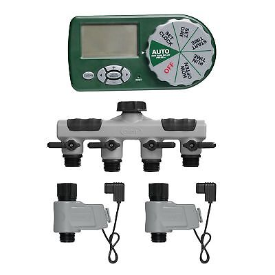Cycle Automatic 4 Outlet Hose Faucet Sprinkler Controller Timer Watering Group