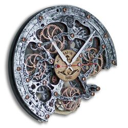 Automaton Bite Metal Jack HANDCRAFTED moving gears unique steampunk wall clock