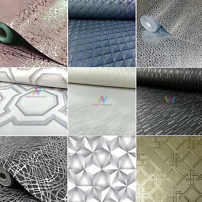 Arthouse Geometric Wallpaper Metallic Textured Geo Triangles Trellis Diamonds
