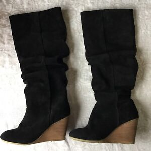Black Suade Wedge Heel Slouch Boots