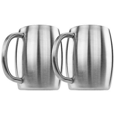 14oz Stainless Steel Beer Mug BPA FREE Shatterproof Dishwasher Safe Set of 2 New Dinnerware & Serveware