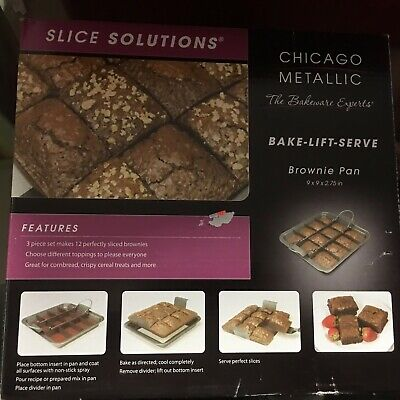 Chicago Metallic Bake Lift And Serve Brownie Pan Slice Solutions New Chicago Metallic Brownie Pan