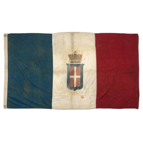 Antique Italian Flag Kingdom Italy Crown Royal Banner Cloth Old Cotton Vintage