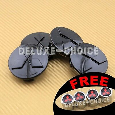 SET OF 4 BLACK FINISH ALLOY WHEEL CAP HUB CENTER for MITSUBISHI 60MM 2.25