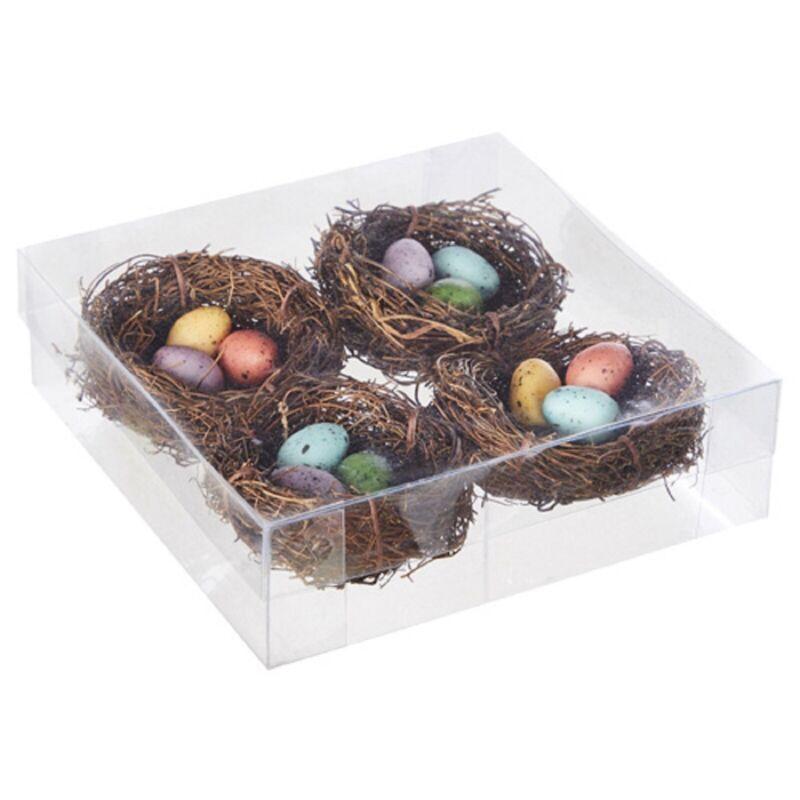 New Raz Set Of 4 Birds Nests With Eggs 4106644