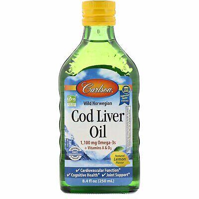 Carlson Labs  Wild Norwegian Cod Liver Oil  Natural Lemon Flavor  1 000 mg   8 4