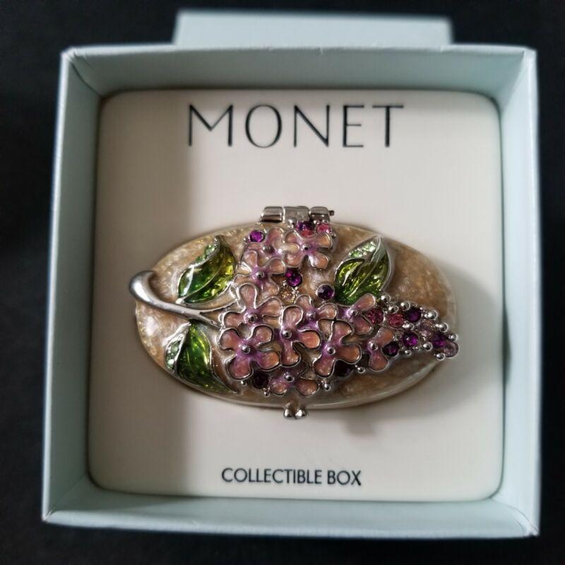 Vintage Monet Enamel Trinket Box ~ Floral New/Unused
