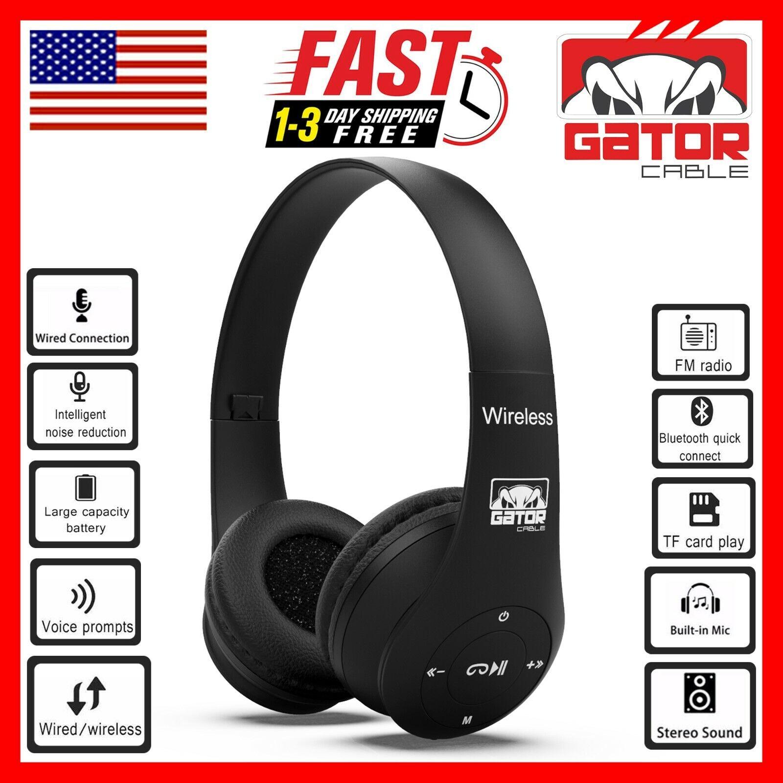 Wireless Bluetooth Headphones Earphones Headset Over-Ear FM Radio MIC Foldable