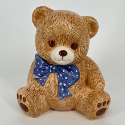 Brown Bear Teddy Bear Blue Polka Dot Bow Ceramic Cookie Jar Collectible