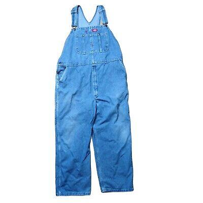 Vintage Overalls & Jumpsuits Dickies Bib Overalls Blue Denim Pockets Adjustable sx 44x30 Work Grunge BOHO $35.99 AT vintagedancer.com