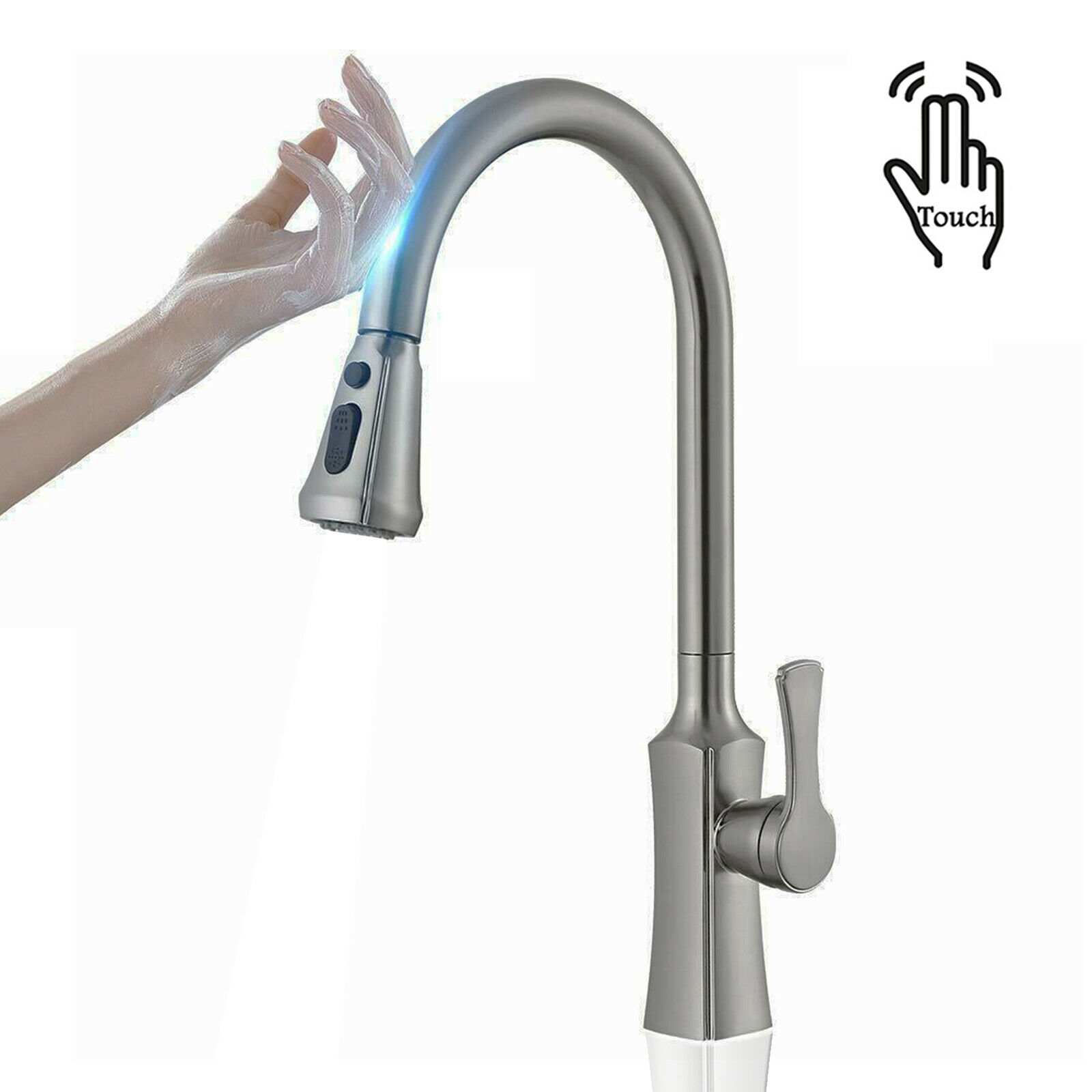 Brushed Sensor Touch On Kitchen Sink Faucet Single Hand Pull Out Spryer Faucets