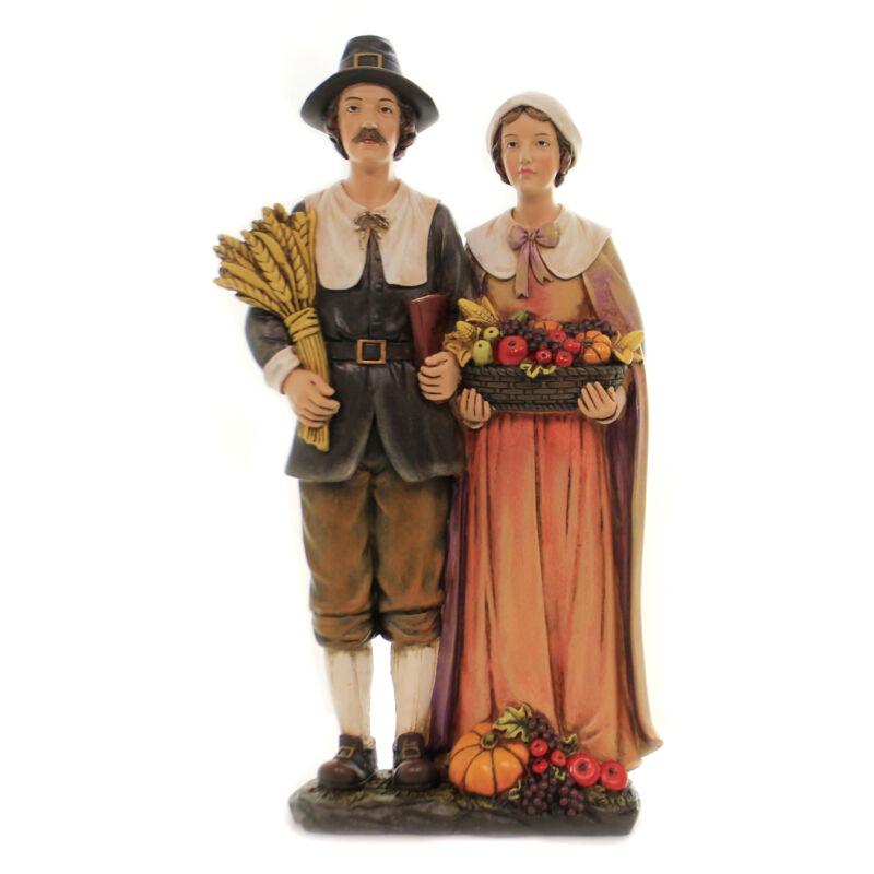 Thanksgiving Pilgrim Couple Polyresin Pumpkin Apples Corn Wheat 33521