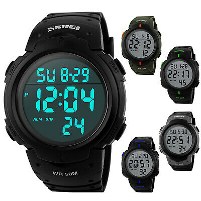 SKMEI Men's Large Number Display LED Digital WR 50M Outdoor Sports Quartz Watch - Large Quartz Watch