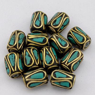Turquoise Brass 12 Beads Tibetan Nepalese Handmade Ethnic Tribal  Nepal UB2569