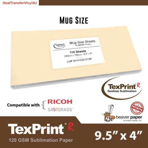 TexPrint R Sublimation Paper 4 x 9.5 (110 Sheets) - Mug Size