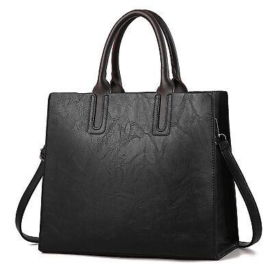 Schwarz Damentasche Leder Shopper Frauen Handtasche Schultertasche Tragetasche - Damen Frauen Leder Schwarz