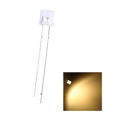500pcs 5mm Led Flat Top Warm White 2pin Water Clear Emitting Diode Lights