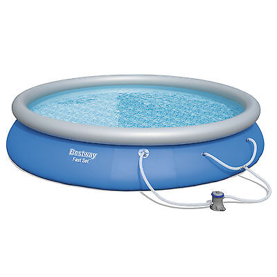 """Bestway 15' x 33"""" Fast Set Inflatable Above Ground Swimming Pool w/ Filter Pump"""
