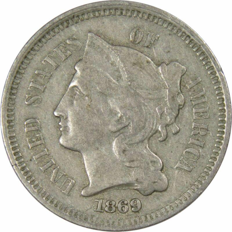 1869 3c Nickel Three Cent Piece US Coin VF Very Fine