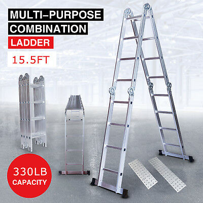 15.5ft Aluminum Multi Purpose Telescopic Ladder Extension Folding Home Use