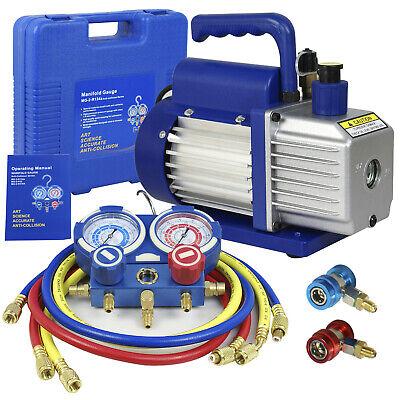 3 Valve Manifold Dual Gauge R134A R410A R22 A/C HVAC w/ 4CFM 1/3HP Vacuum Pump