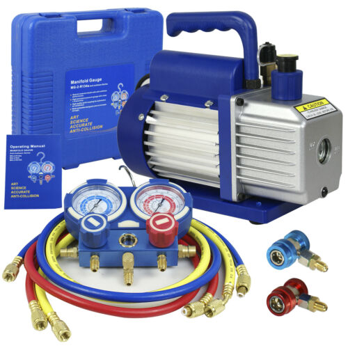 3 Valve Manifold Dual Gauge R134A R410A R22 A/C HVAC w/ 4CFM 1/3HP Vacuum Pump Business & Industrial