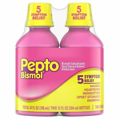 Pepto-Bismol Liquid Original 2-12 oz Bottles (total 24oz) Free Priority Shipping