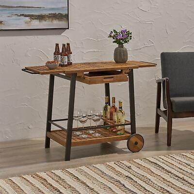 Michaela Indoor Acacia Wood Bar Cart with Reversible Drawers Adjustable Tray Top