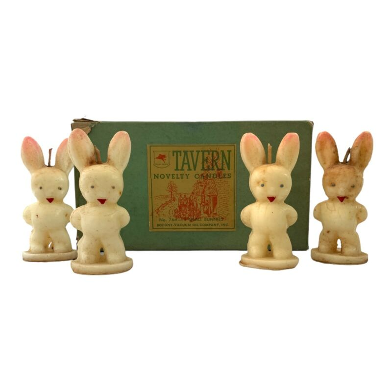 Vintage Tavern Candles SM Bunnies Set Of 4 In Box #766 Easter Bunny Novelty