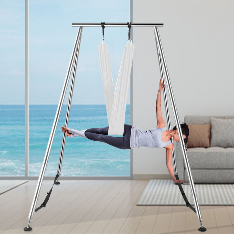 Aerial Trapeze Stand Yoga Swing Frame Portable Fitness Gym w/20Ft Aerial Hommock