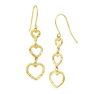 Just Gold Graduated Open Heart Drop Earrings in 10K Gold