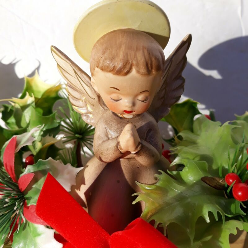 Vintage Ceramic Christmas Angel with Holly Figurine  5 Inches Mid Century