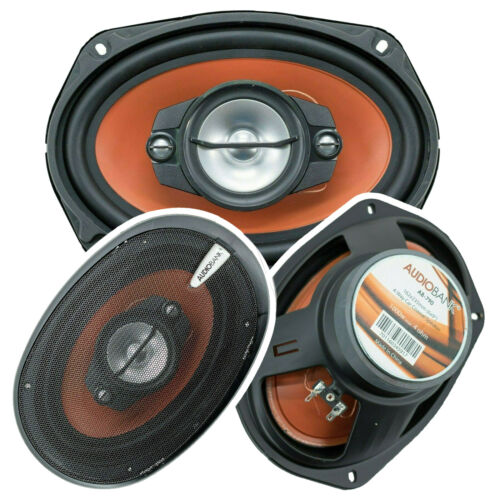 "2x Audiobank AB-790 6""x9"" 1000 Watt 4-Way Red Car Audio Stereo Coaxial Speakers"