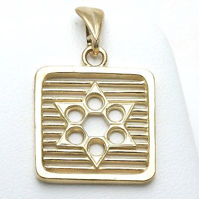 NEW 14k yellow gold jewish star David pendant charm Square Modern Judaica Israel