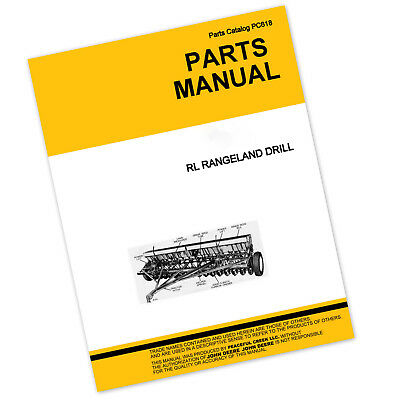 Parts Manual For John Deere Rl 1610 Rangeland Drill Planter Catalog Seed Grain