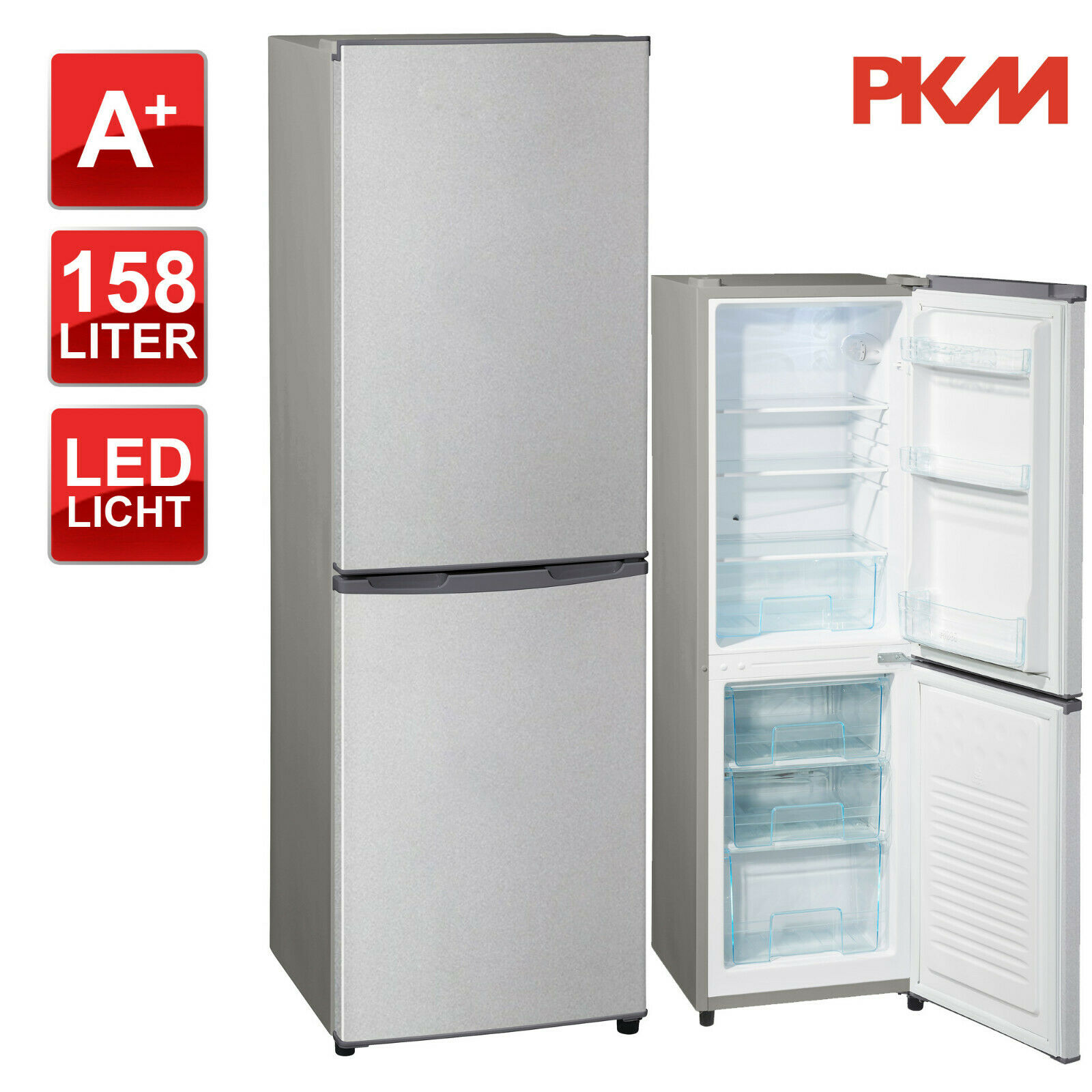 Kühlschrank Kühl-Gefrierkombination A+ PKM KG162.4A+ silber 158 Liter