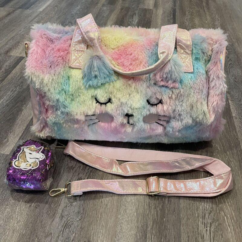 Furry Girls Cat Duffle Bag With Unicorn Coin Purse Cute Fun Rainbow Colored