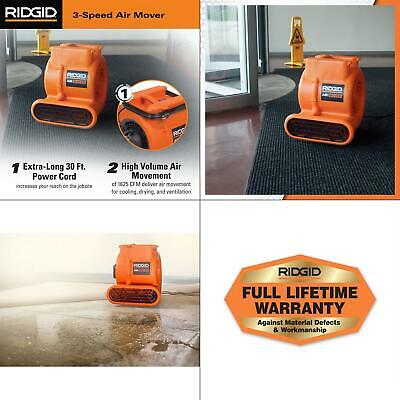 1625 Cfm Blower Fan Air Mover Ridgid Carpet Wet Indoor Plastic Floor Powerful