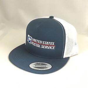 USPS Snapback Hat United States Postal Service Mesh Trucker Cap Navy/White