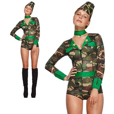 Sexy Army Girl Costume Combat Chick Womens Ladies Fancy Dress Outfit (Combat Girl Kostüm)