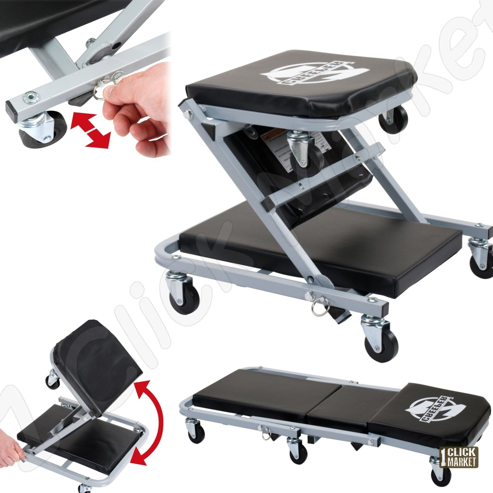 Rolling Mechanic Seat Stool Chair Tray Repair Tools Shop ...  |Auto Mechanic Chairs